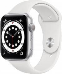 Watch Series 6, 44 мм, корпус из алюминия серебристого цвета, спортивный ремешок белого цвета