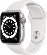 Watch Series 6, 40 мм, корпус из алюминия серебристого цвета, спортивный ремешок белого цвета