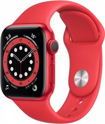 Watch Series 6, 40 мм, корпус из алюминия цвета (PRODUCT)RED, спортивный ремешок красного цвета