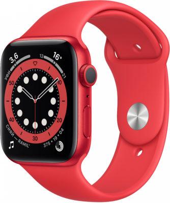 Watch Series 6, 44 мм, корпус из алюминия цвета (PRODUCT)RED, спортивный ремешок красного цвета