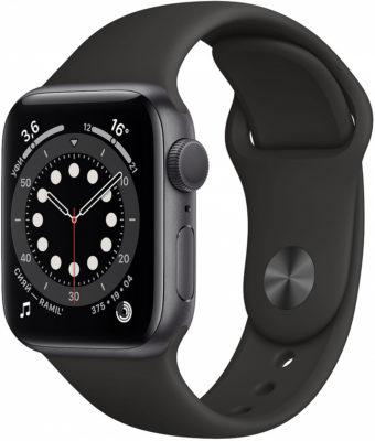 Watch Series 6, 40 мм, корпус из алюминия цвета «серый космос», спортивный ремешок чёрного цвета