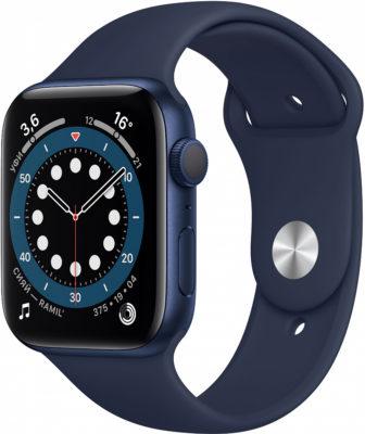 Watch Series 6, 44 мм, корпус из алюминия синего цвета, спортивный ремешок «тёмный ультрамарин»