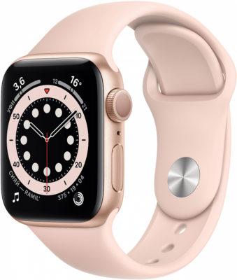 Watch Series 6, 40 мм, корпус из алюминия золотого цвета, спортивный ремешок цвета «розовый песок»