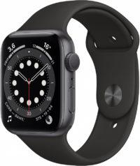 Watch Series 6, 44 мм, корпус из алюминия цвета «серый космос», спортивный ремешок чёрного цвета