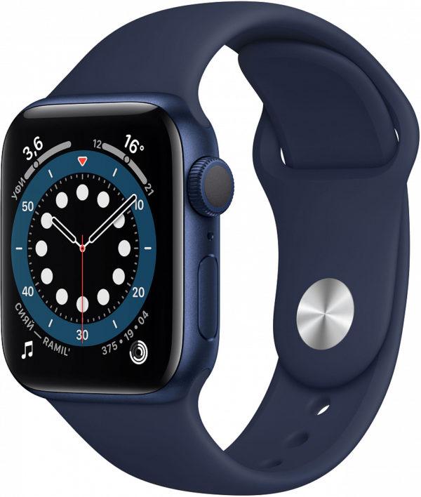 Watch Series 6, 40 мм, корпус из алюминия синего цвета, спортивный ремешок «тёмный ультрамарин»