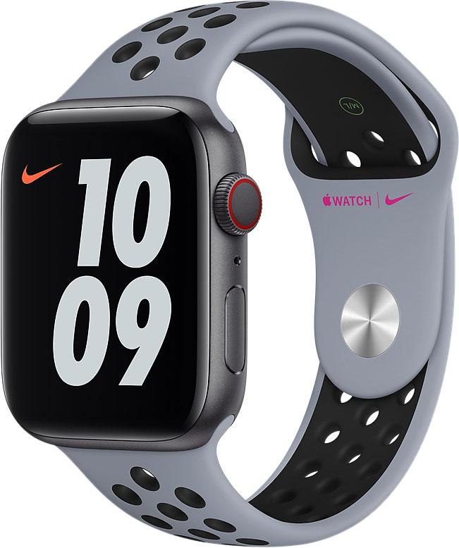 Спортивный ремешок для Apple Watch 44 мм, «дымчатый серый/чёрный»