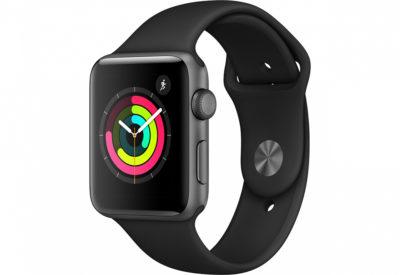 Watch Series 3, 42 мм, корпус из алюминия цвета «серый космос», спортивный ремешок чёрного цвета