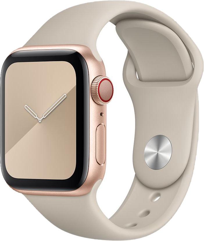 Ремешок для Apple Watch 38/40мм, силикон, светлый камень