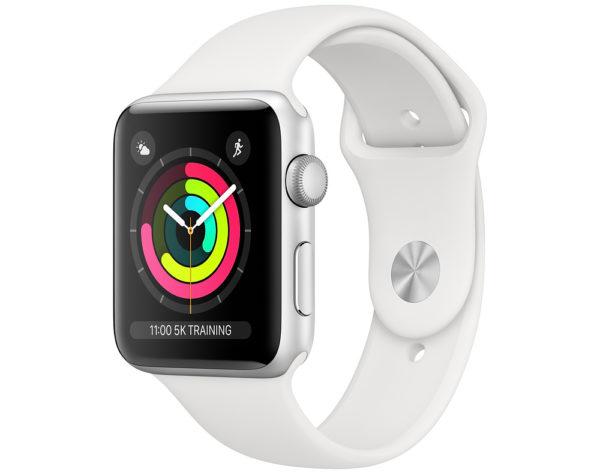 Watch Series 3, 38 мм, корпус из серебристого алюминия, спортивный ремешок белого цвета