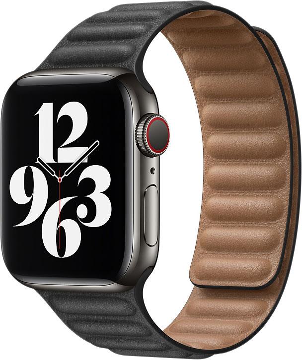 Кожаный браслет Watch 44 мм, размер S/M, чёрный