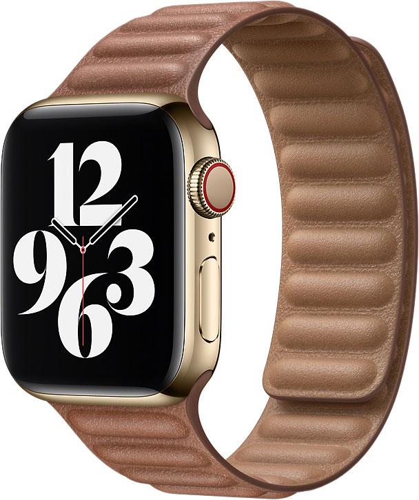 Кожаный браслет Watch 44 мм, размер M/L, золотисто-коричневый