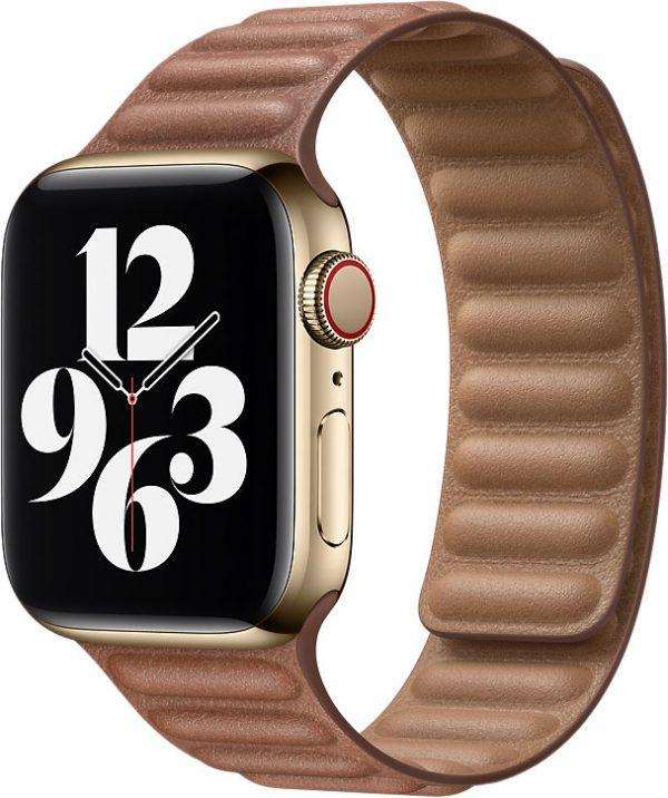 Кожаный браслет Watch 44 мм, размер S/M, золотисто-коричневый