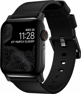Ремешок Modern Strap для Apple Watch 42/44mm, кожа, черный