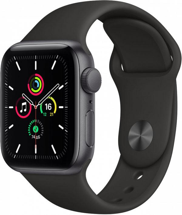 Watch SE, 40 мм, корпус из алюминия цвета «серый космос», спортивный ремешок чёрного цвета