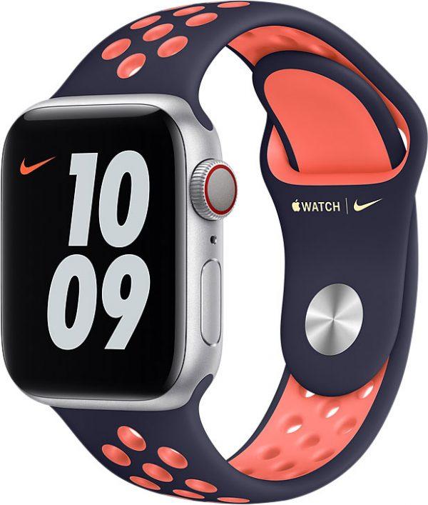 Спортивный ремешок для Apple Watch 40 мм, «полночный синий/манго»