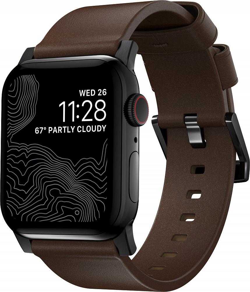 Ремешок Modern Strap для Apple Watch 42/44mm, кожа, темно-коричневый
