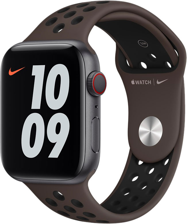 Спортивный ремешок для Apple Watch 44 мм, «тёмный металл/чёрный»