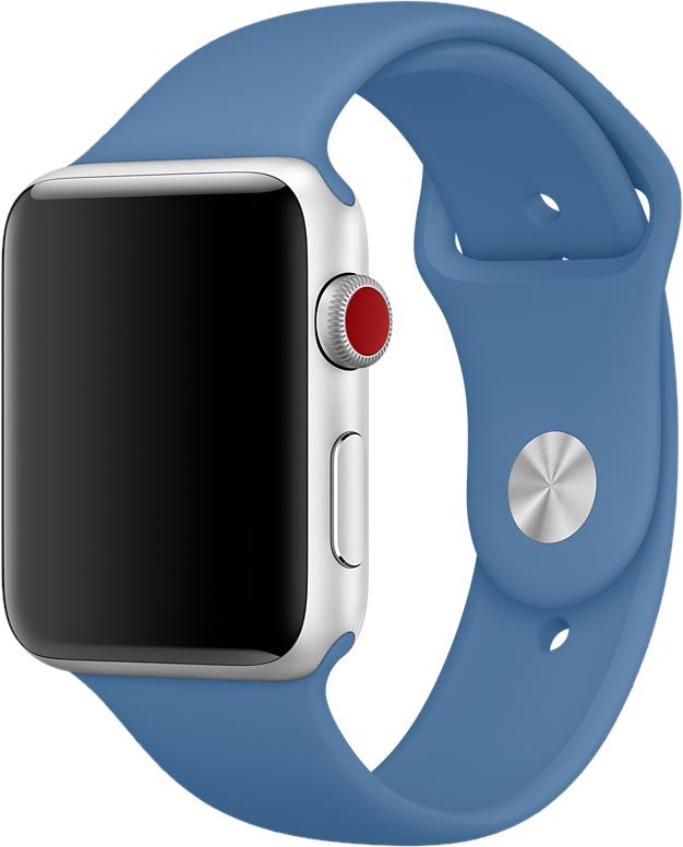 Ремешок для Apple Watch 42/44 мм, силикон, джинсовый синий
