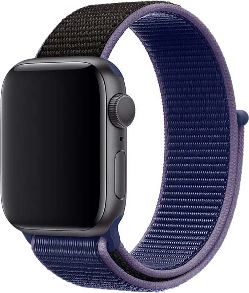 Ремешок для Apple Watch 42/44 мм, нейлон, темно-синий+черный