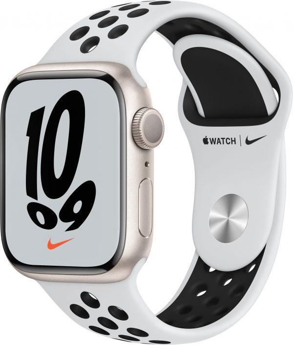 Watch Nike Series 7, 41 мм, «сияющая звезда», ремешок Nike «чистая платина/чёрный»