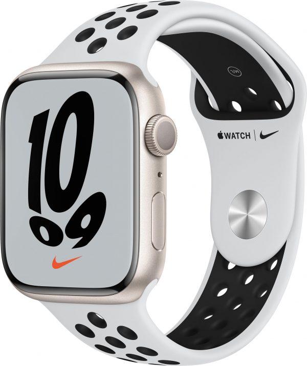 Watch Nike Series 7, 45 мм, «сияющая звезда», ремешок Nike «чистая платина/чёрный»